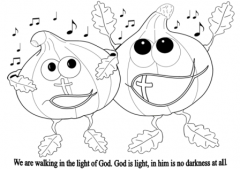 Walking in the light of God coloring page
